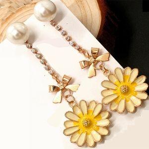 Earrings - Yellow Sunflower Crystal Bowl Pearl